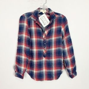 Anthropologie | plaid popover flannel red & blue